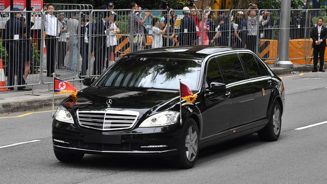 A motorcade transporting North Korea's leader Kim Jong-un sets off to Sentosa.