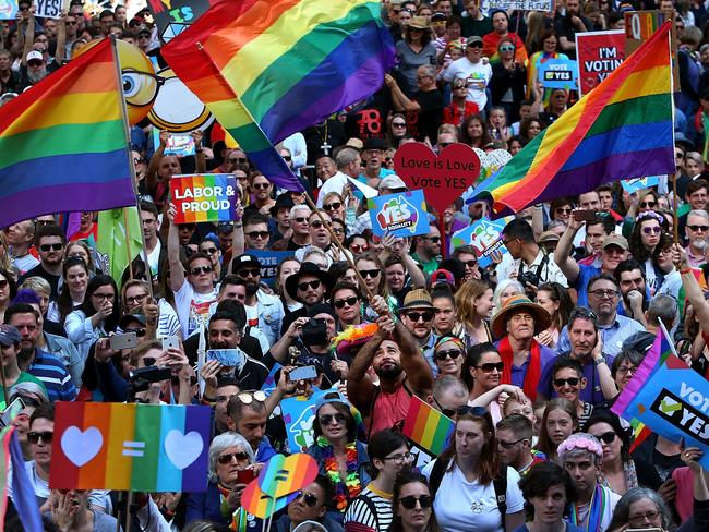 'Once a vote is on, it's on' ... A rally of yes supporters outside Sydney Town Hall during the same-sex marriage campaign. Picture: Lisa Maree Williams/Getty Images