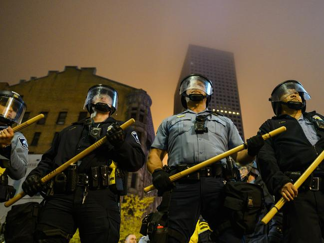 Minneapolis Police create a blockade after a campaign rally for President Donald Trump at the Target Center on October 10, 2019 in Minneapolis, Minnesota. Picture: AFP