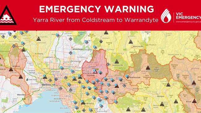An emergency warning has also been issued for the far east of Melbourne, with rising water levels likely to cause major flooding of the Yarra River at Yarra Glen.