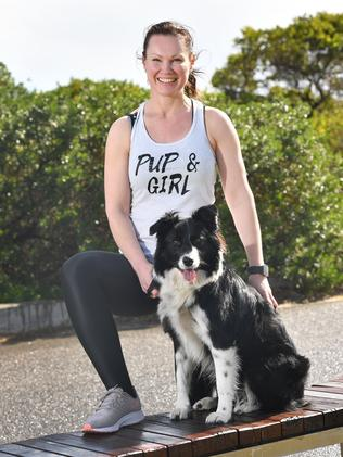 Lee-Anne Lupton and border collie Aoife will set off on an 800km run for charity this weekend. Image: AAP/Keryn Stevens