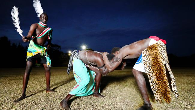 Community groups say sport, such as traditional Sudanese wrestling, has been key to keeping youths off the streets. Picture: Hollie Adams/The Australian