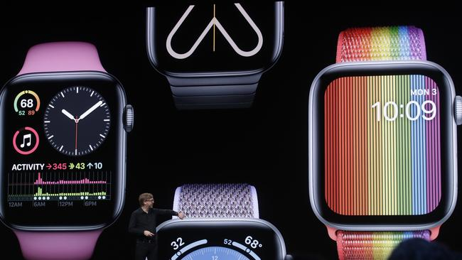 Apple's Kevin Lynch speaks on Apple Watch at the Apple Worldwide Developers Conference in San Jose, California on June 3, 2019. Picture: AP /Jeff Chiu.