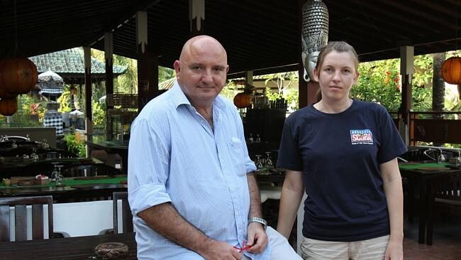 Manager of the Padangbai Beach Resort in Bali, Giovanni Bareato and marketing adviser Alena Lizahub in front of the hotel restaurant where Noelene Bischoff and her daughter Yvana ate