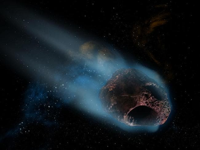 An asteroid is a small, airless rocky mass which orbits the sun, but is too small to be classed as a planet.