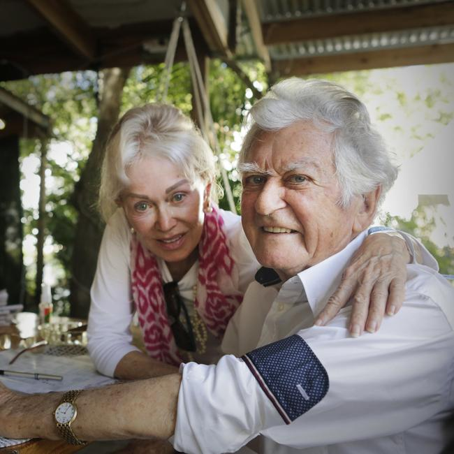 Bob Hawke and wife Blanche d'Alpuget. Picture: Megan Slade/AAP