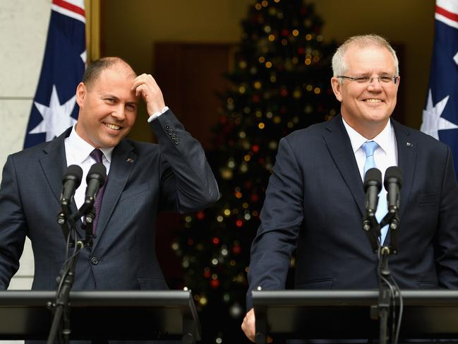 Treasurer Josh Frydenberg and Prime Minister Scott Morrison announced they would bring the budget forward to April. Picture: Tracey Nearmy/Getty Images