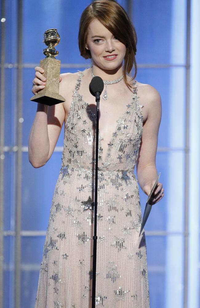 La La Land star Emma Stone wins the Golden Globe for Best Actress in a Musical or Comedy.