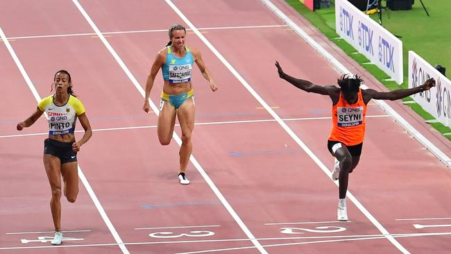 Aminatou Seyni leads home Kazakhstan's Olga Safronova (centre) and Germany's Tatjana Pinto (left) in the 200m heats. Picture: AFP