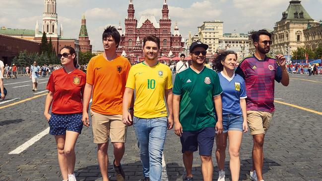 "LGBTI activists and World Cup fans create ""hidden"" rainbow flags in Moscow to protest against Russia' stance on homosexuality. Picture: supplied."