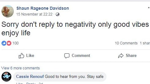 After 18 months on the run, Davidson doesn't have the headspace for haters. Picture: Facebook