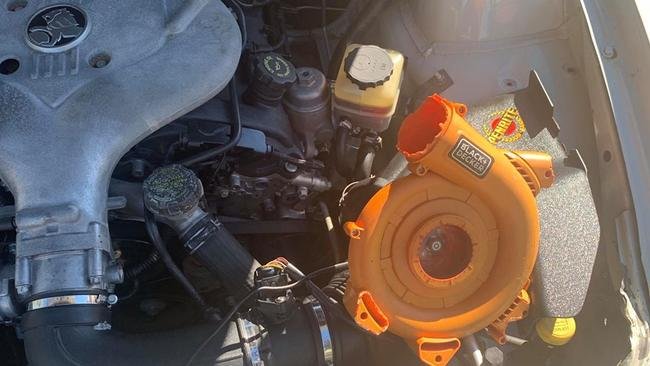 The driver fitted a leaf blower to act as supercharger. Photo: NSW Traffic and Highway Patrol Facebook page.