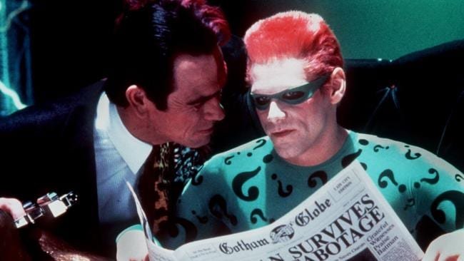 Tommy Lee Jones as Two Face and Jim Carrey as The Riddler in Batman Forever.