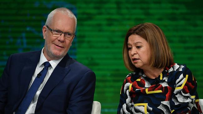 ABC Chairman Justin Milne with Michelle Guthrie, pictured in February. Picture: AAP Image/Joel Carrett