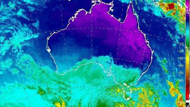 False colour satellite images show the swirl of cold air washing over the south east. Picture: Burua of Meteorology.
