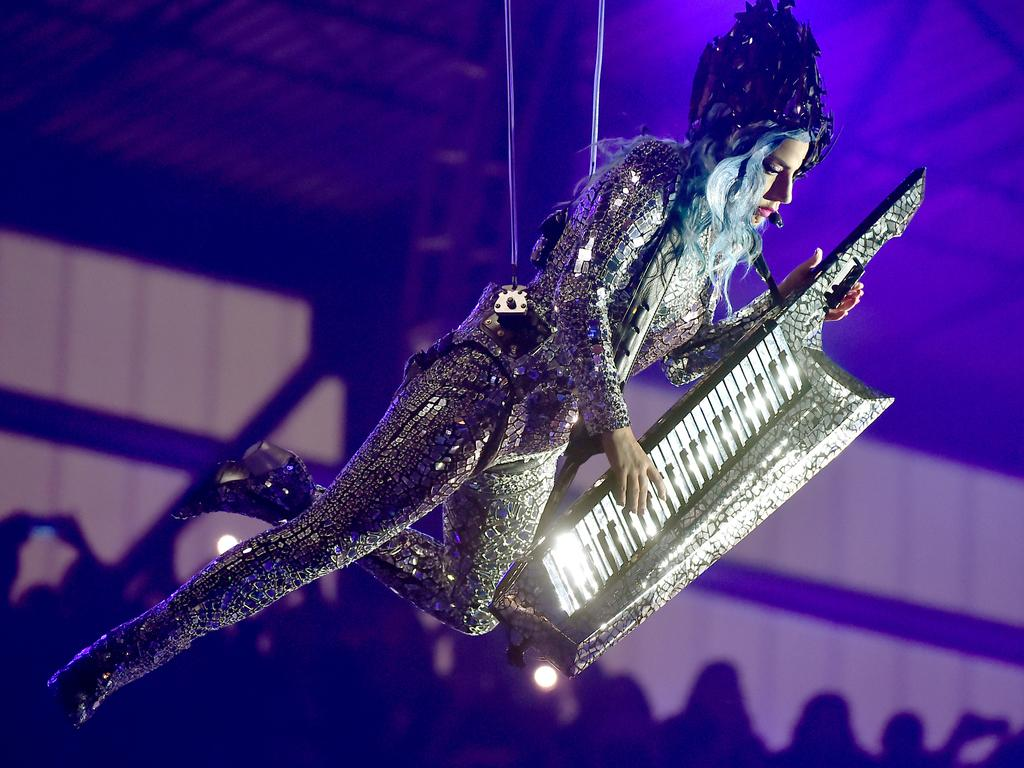 Lady Gaga performed at a pre-Super Bowl event in Miami. Picture: Getty Images