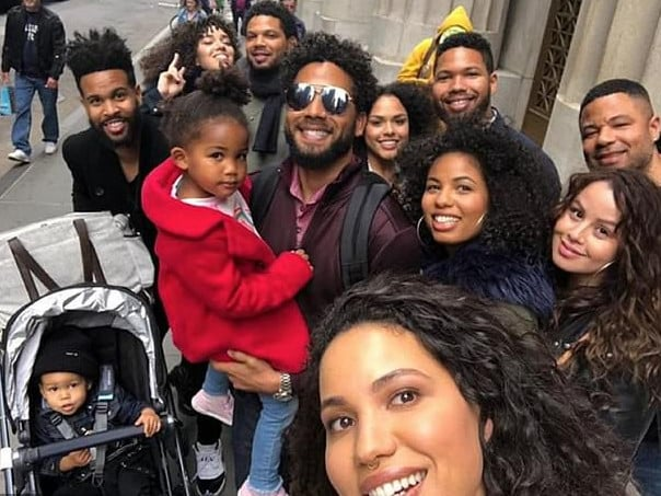Empire star Jussie Smollett, centre, and his family. Picture: Supplied