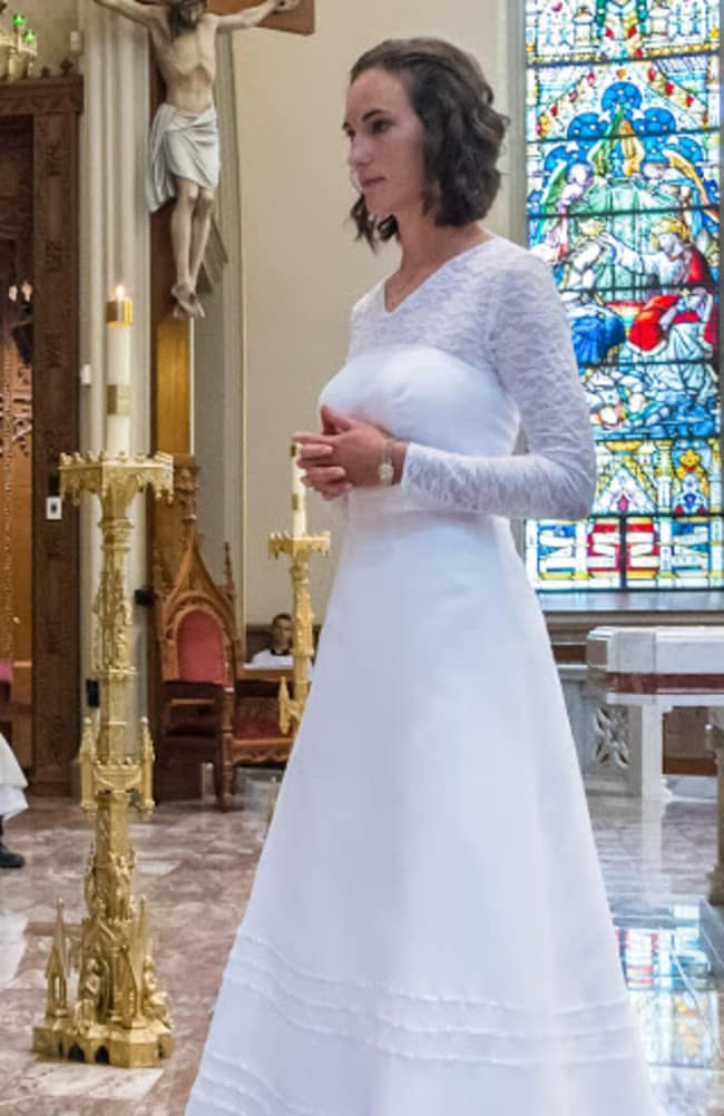 Like a virgin ... Jessica Hayes wore a white gown, symbolising purity. Picture: Diocese of Fort Worth