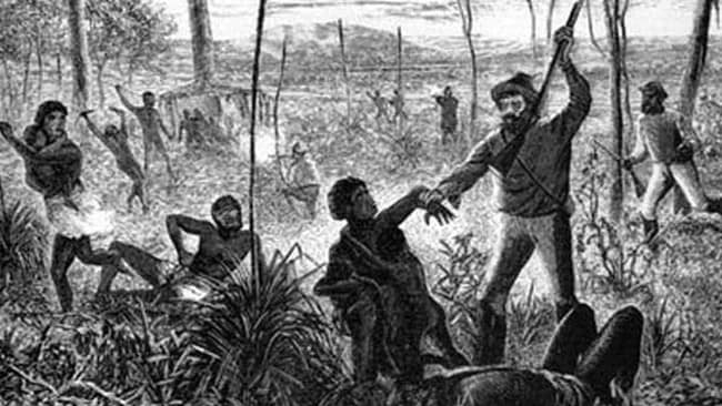 An image depicting the violence against Aborigines killed in massacres during the white settlement.