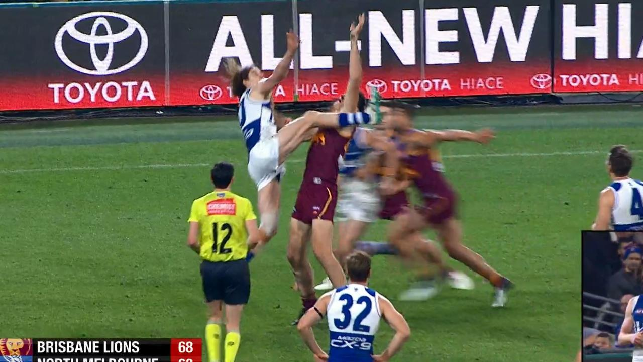 Ben Brown won a free kick in this ruck contest.