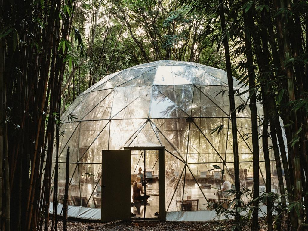 The geodesic yoga dome at Soma Retreats in Byron Bay. Picture: Romello Pereira/ Soma Byron