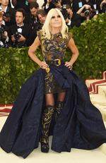 Donatella Versace attends the Heavenly Bodies: Fashion and The Catholic Imagination Costume Institute Gala at The Metropolitan Museum of Art on May 7, 2018 in New York City. Picture: Getty
