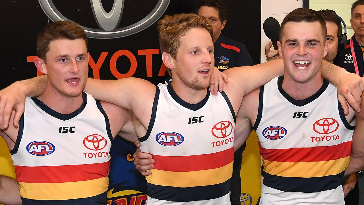 Adelaide co-captain Rory Sloane loves what Matt Crouch (left) and Brad Crouch (right) bring to the team.