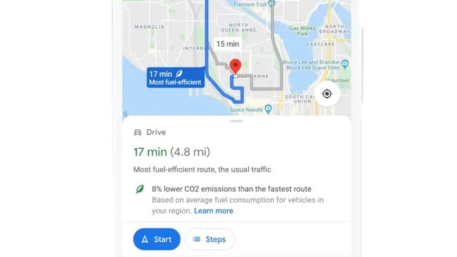 Google Maps will soon show a 'greener' route by default. Picture: Supplied