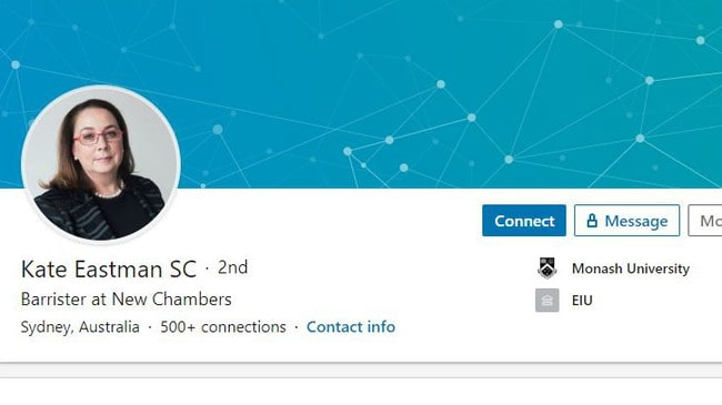 Kate Eastman's social media including information on her LinkedIn page may be used against her.