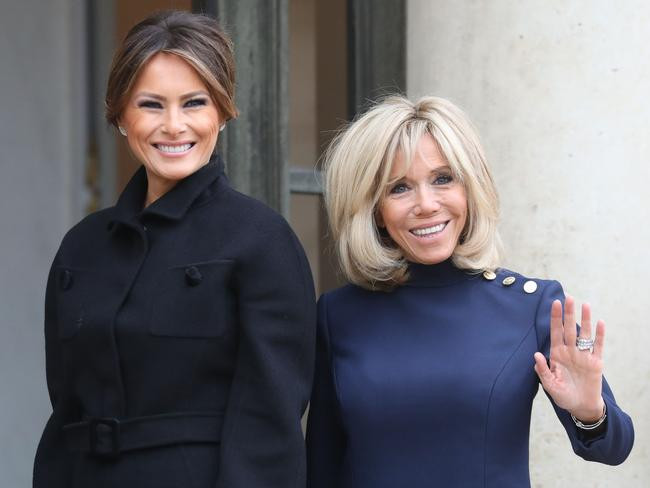 Melania Trump and Brigette Macron were all smiles at the Elysee Palace in Paris. Picture: AFP