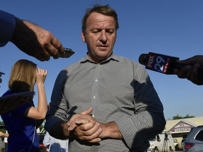 Annapolis Mayor Gavin Buckley speaks with reporters. Picture: AP Photo/Susan Walsh