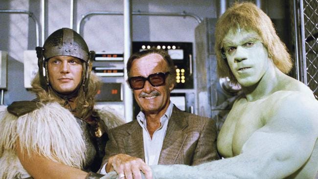 Taken in 1988, Stan Lee, centre, poses with Eric Kramer as Thor and Lou Ferrigno, who portray the Incredible Hulk. Picture: AP