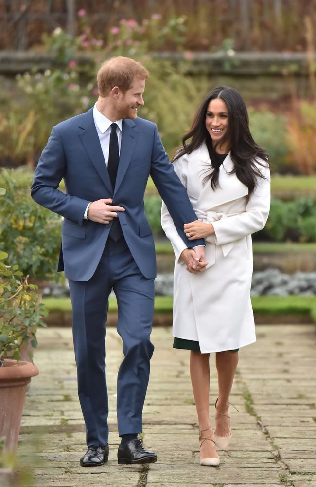 Prince Harry and Meghan Markle when they announced their engagement in 2017. Picture: Dominic Lipinski/PA Wire