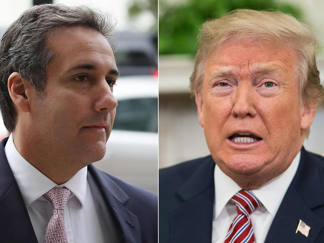 His former lawyer Michael Cohen claimed Mr Trump knew about the payments, but the President insisted he 'never directed Michael Cohen to break the law'. Picture: Mark Wilson and Nicholas Kamm / various sources / AFP