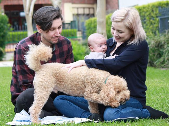 Rhys and Ellice with little baby Franklin. Picture: Jessamine Chen