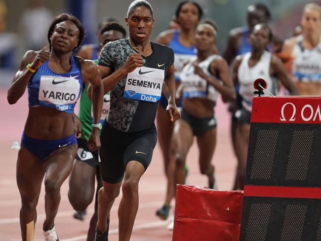 South Africa's Caster Semenya (running second) on her way to winning the women's 800m in Doha on May 3. Picture: AFP