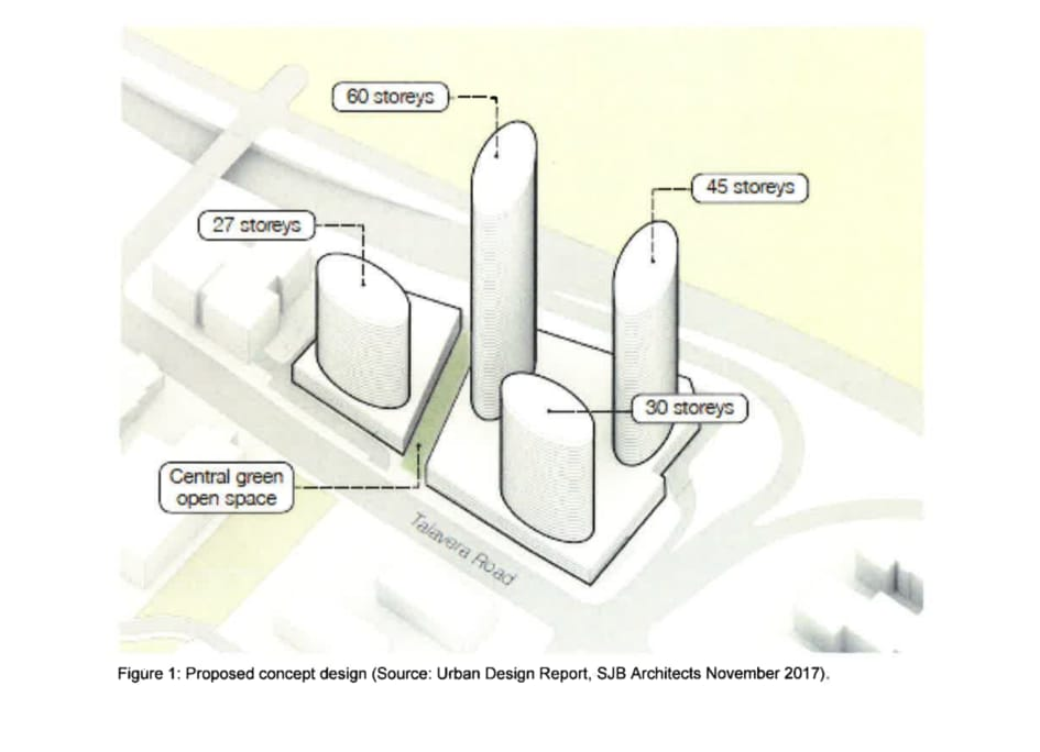 The controversial 63-storey mega Meriton towers in Sydney's northwest would more than double the current height restrictions of 27 storeys if new rezoning laws are to be passed. Pictured: the original plan