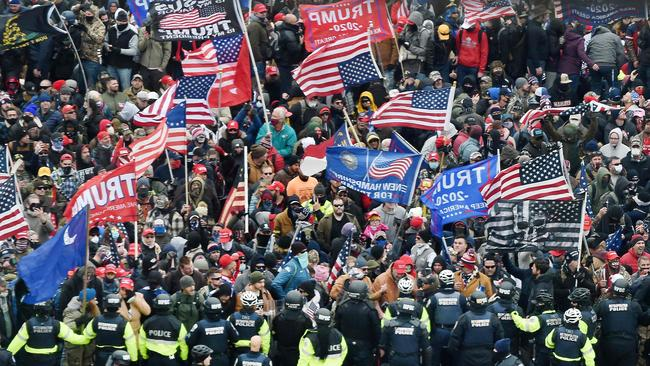 Trump supporters clash with police and security forces as they storm the US Capitol in Washington D.C. Picture: Olivier Douliery/AFP