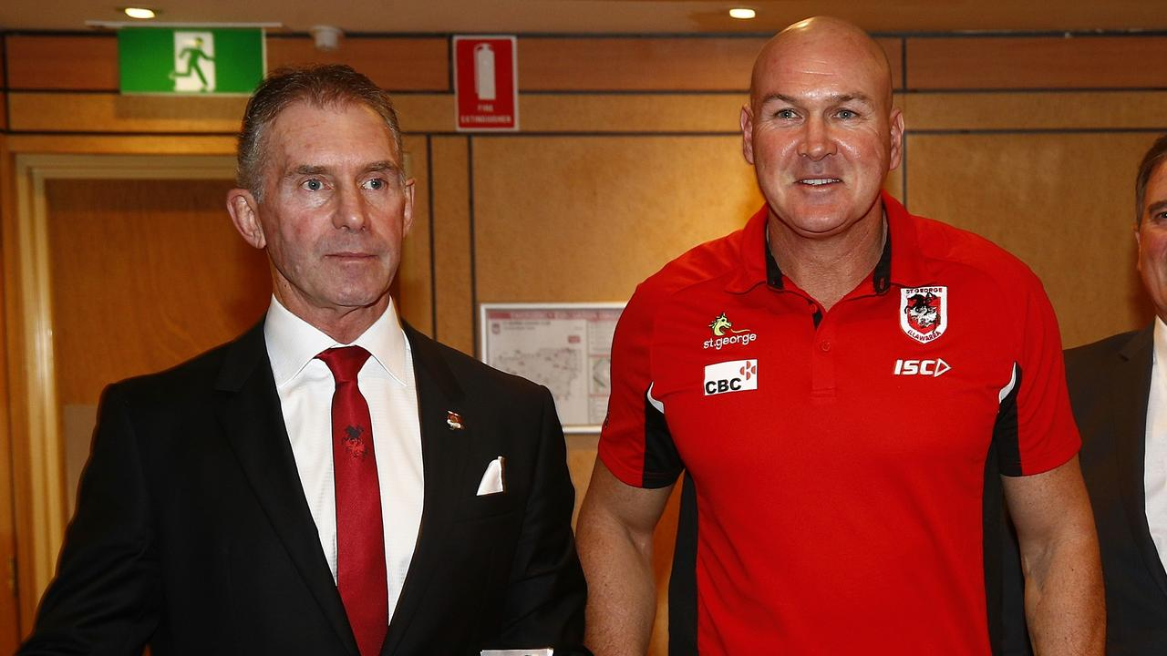 Centre: St George Illawarra Dragons Coach Paul McGregor with Brian Johnston