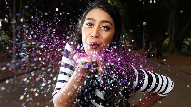 Makeup artist Fallon Wickramasinghe will be glitter bombing people at a festival in Parramatta called The Plot.