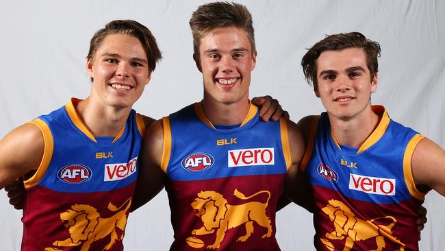 Brisbane's top draftees (from left) Eric Hipwood, Josh Schache and Ben Keays. Picture: Sarah Reed