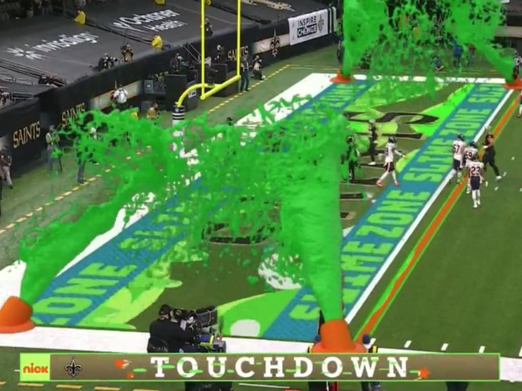 The slime cannons were in full force for the first touchdown of the game.