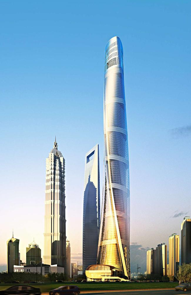 The Shanghai Tower development towers over the city skyline.