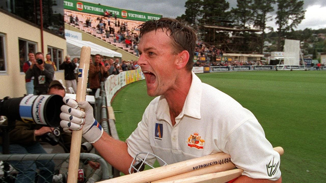 An exuberant Adam Gilchrist after leading Australia to victory.