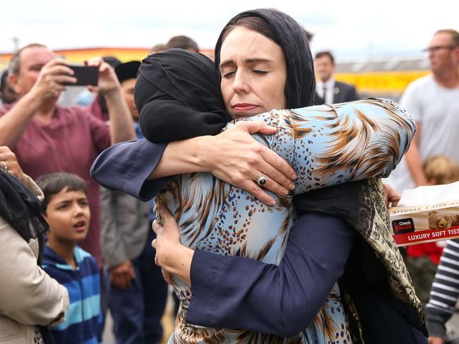 Ardern was completely at ease greeting mourners. Picture: Hagen Hopkins/Getty Images
