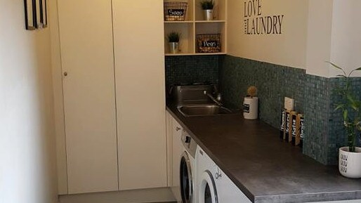 The laundry is one of the rooms that has been made over on the cheap. Picture: Facebook