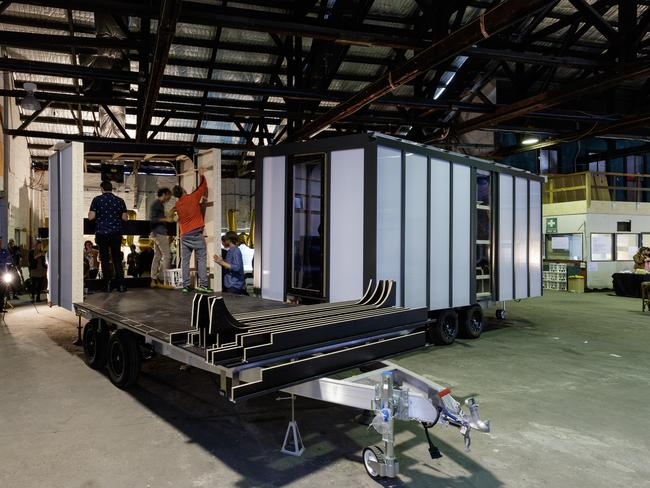 The construction of a second 'add-on' modular. Owners can continue to add space, or extra bedrooms, as their families grow.