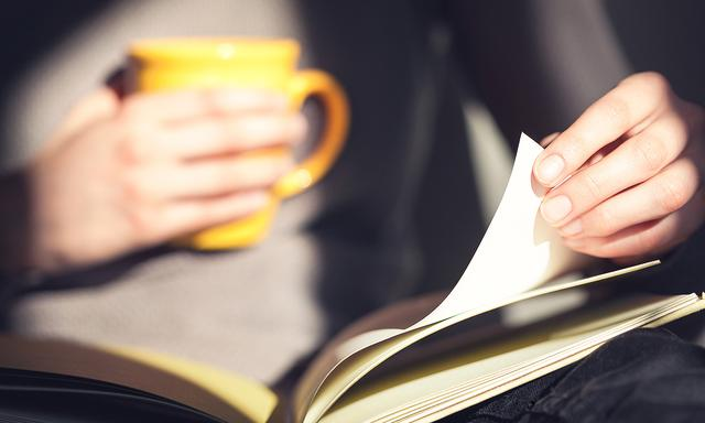 Close-up of woman hands holding open book. Reading.