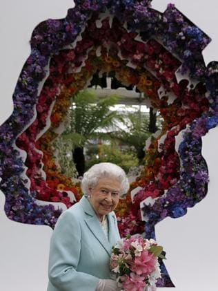 Britain's Queen Elizabeth is featured in a floral display. Picture: Adrian Dennis/Pool Photo via AP