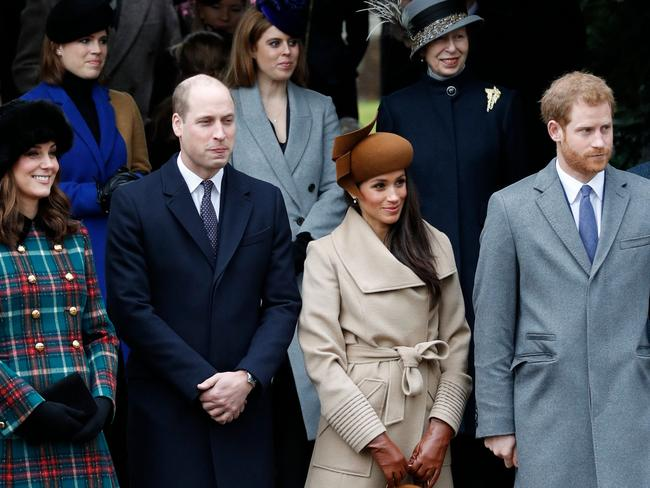 Welcome to the family. Catherine, Duchess of Cambridge, (L) and Britain's Prince William, Duke of Cambridge, (2L), US actress and fiancee of Britain's Prince Harry Meghan Markle (2R) and Britain's Prince Harry (R) stand together after the traditional Christmas Day church service in Sandringham. Picture: AFP / Adrian Dennis